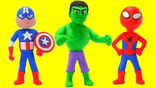 Hulk, Spiderman & Captain America Play Doh Cartoon w/ Frozen Elsa & Superhero Babies Stop Motion