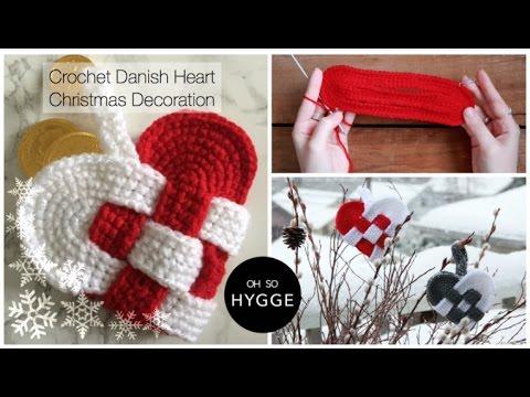 Christmas Heart Decoration.Crochet Danish Heart Christmas Decoration Julehjerte