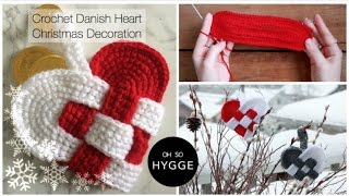 Crochet Danish Heart Christmas Decoration (Julehjerte)