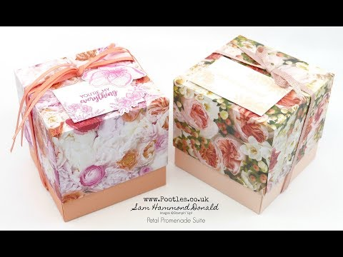Stampin' Up! Beautiful Petal Promenade 4 x 4 Cube Lidded Box - วันที่ 18 Jul 2018