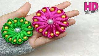 DIY - how to make satin ribbon flower || handmade || kanzashi flower