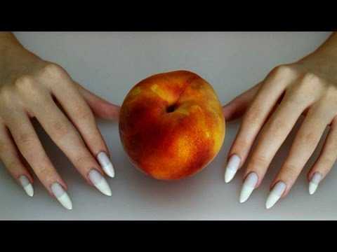 Asmr Digging My Long White French Nails Into A Peach