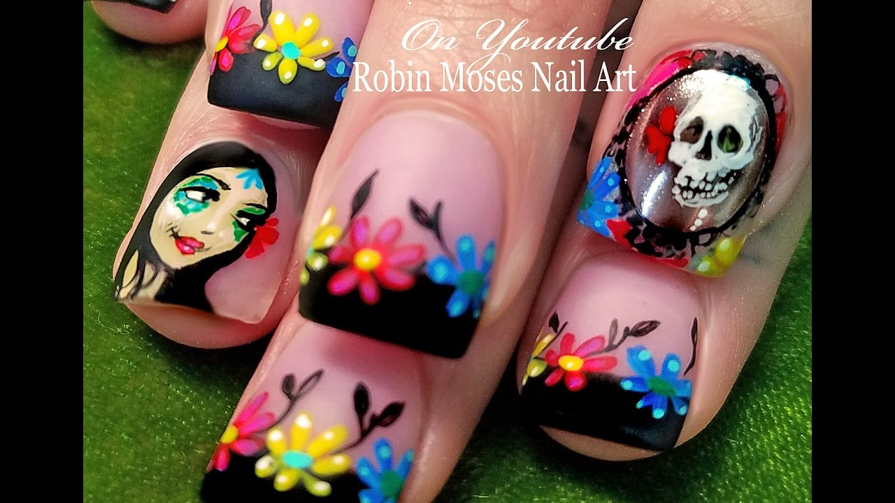 The Day of the Dead Nails | Chrome Mirror Nail Art Design Tutorial ...