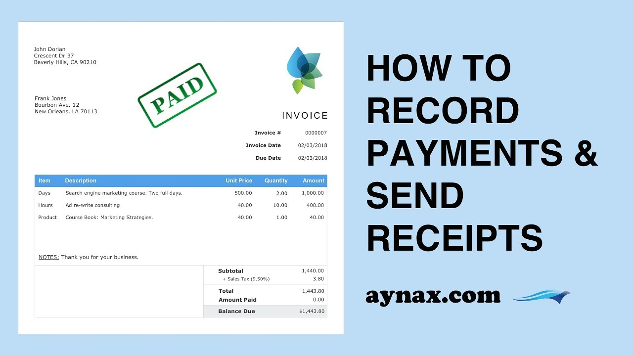 Mark As Paid Send A Receipt YouTube - Aynax free invoice template cheap online clothing stores