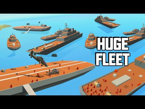HUGE Navy Fleet in Ravenfield!  BATTLESHIPS & Aircraft Carri