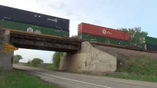 Screaming Union Pacific stacker crosses County Line Road bridge