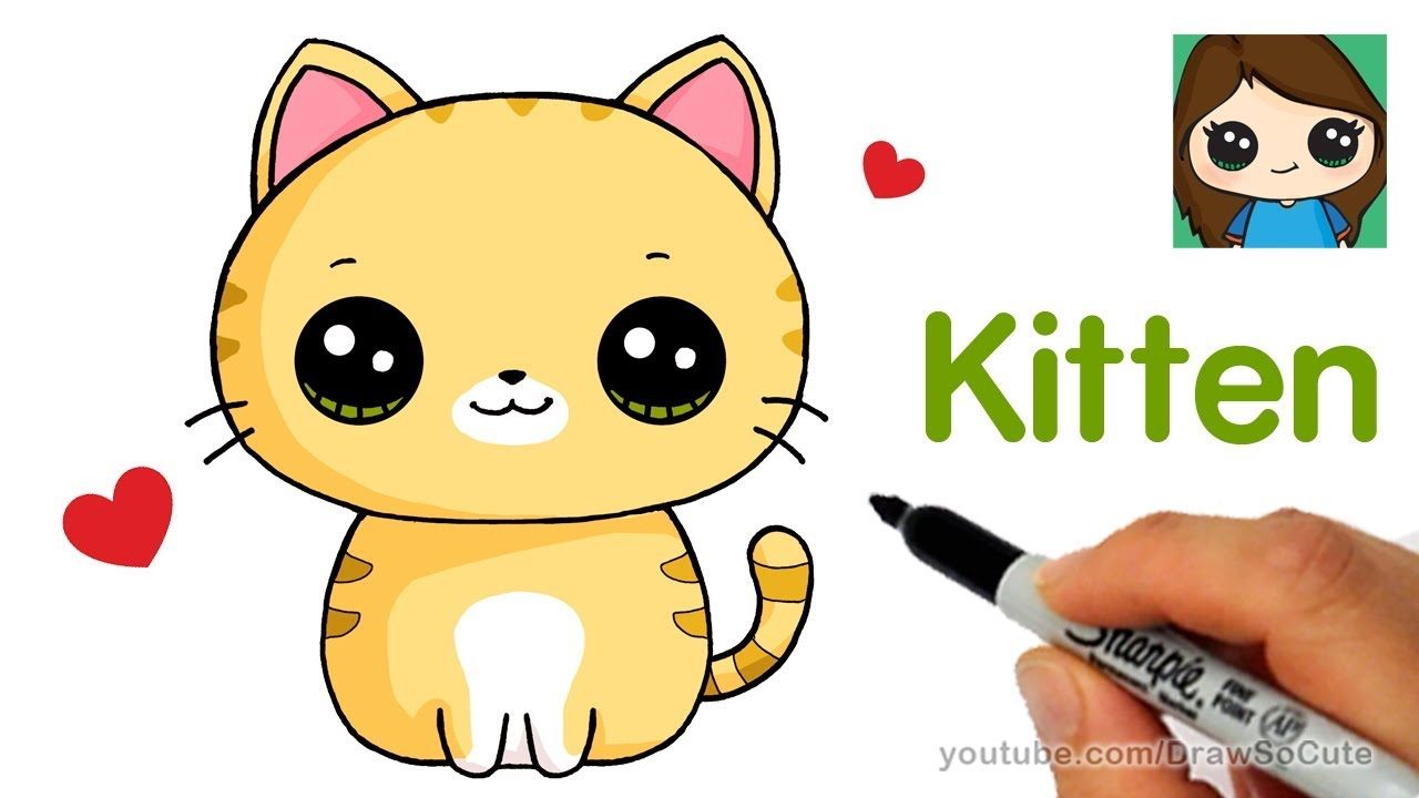 This is an image of Bewitching Cute Kitten Drawing