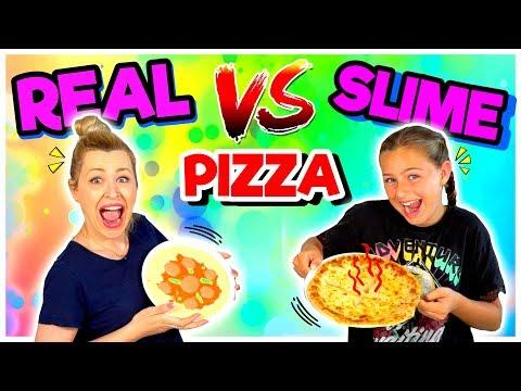 REAL FOOD vs SLIME FOOD 🍕edición PIZZA CHALLENGE | Familia Carameluchi 👨👩👧👦