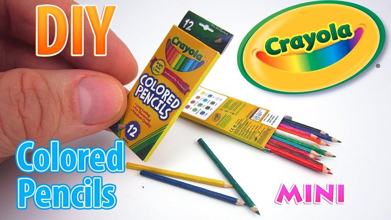 DIY Miniature Crayola Colored Pencils DollHouse No Polymer Clay