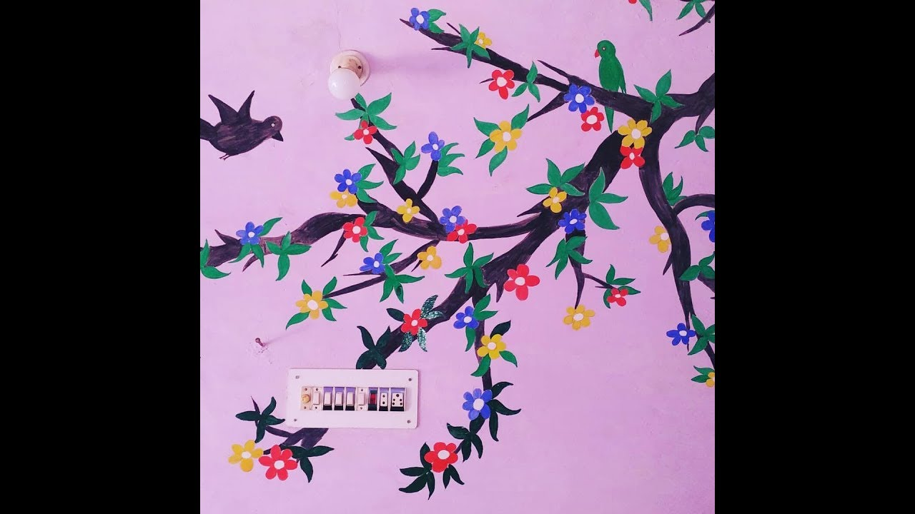 Easy Tree Painting On Wall Tree Wall Painting Wall Painting Images Easy Wall Painting Designs