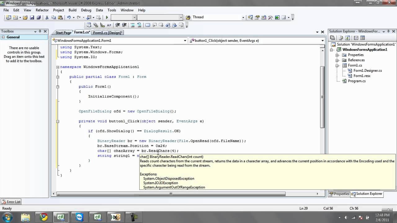 C# Tutorial 19, Reading ASCII String