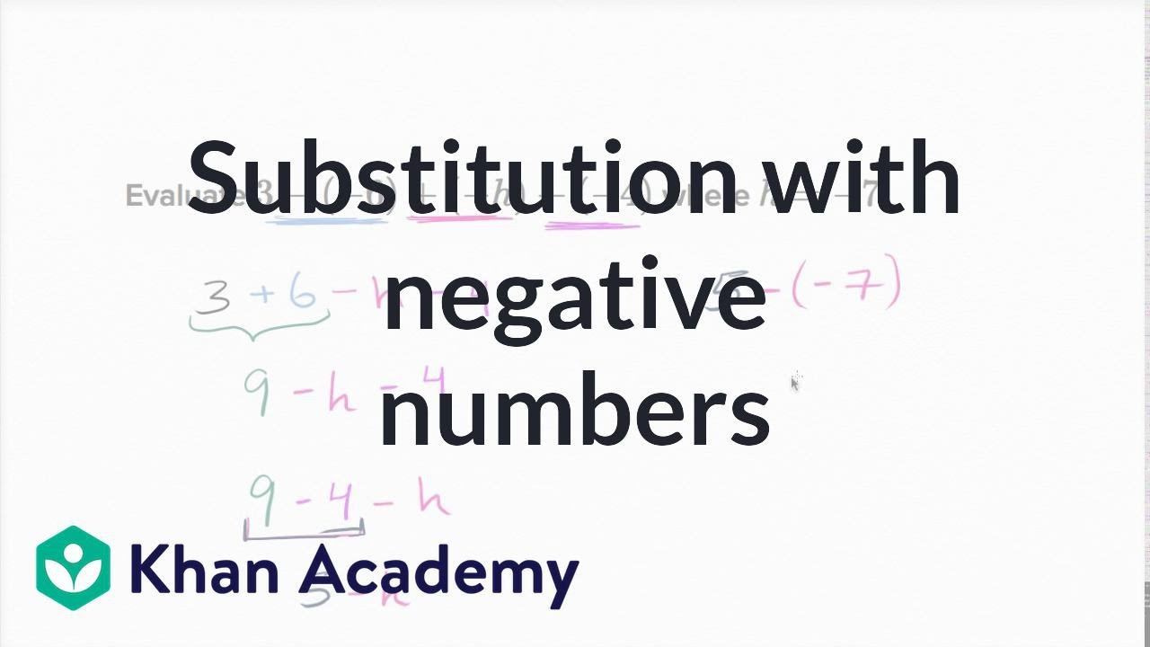 Substitution with negative numbers | 7th grade | Khan Academy - YouTube