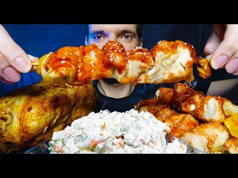 asmr-eating-tasty-grilled-chicken,-asian-chicken,-olivier-salad-[no-talking]