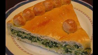 Дрожжевой пирог с зеленым луком и яйцом