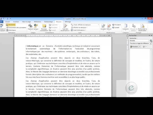 21 MS Word : Onglet Révision : Vérification