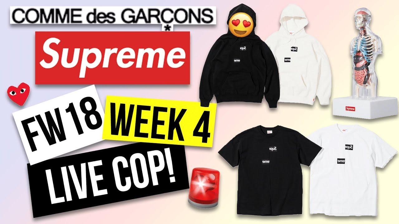 61de37f7fa0e Supreme FW18 Week 4 Live Cop – Comme des Garcons Box Logo (CDG) - YouTube