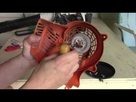 replacing the starter cord on a Stihl gas blower - YouTube