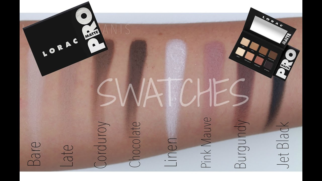 Lorac Pro Matte Palette SWATCHES - YouTube