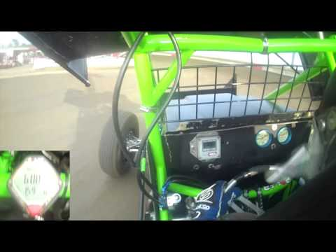 In Car Camera Sprint Car @ I80 Speedway measuring Tony Rost's Heart Rate with Polar monitor