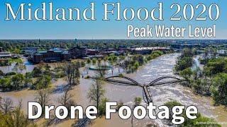 Midland Flood 2020 - Peak of Flood - Drone - 500 Year Flood - Patman Droneography