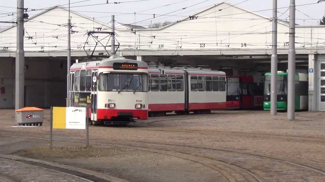 Straßenbahn Bremen Ausfahrt Von Wegmann 3524 Aus Dem Depot In