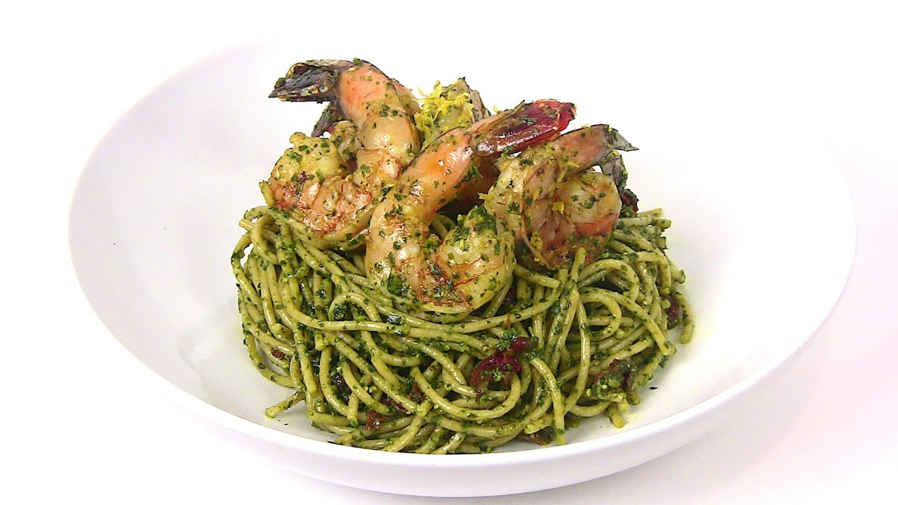 GRILLED LEMON SHRIMP in PESTO SAUCE with WHOLE WHEAT PASTA |Cooking With Carolyn