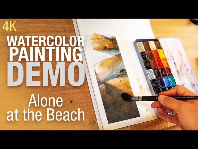 🎨 🖼️ Demo Aquarelle - Peindre une plage au coucher de soleil 4K