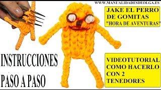 Repeat youtube video COMO HACER A JAKE EL PERRO DE HORA DE AVENTURAS DE GOMITAS (LIGAS) CHARMS CON DOS TENEDORES