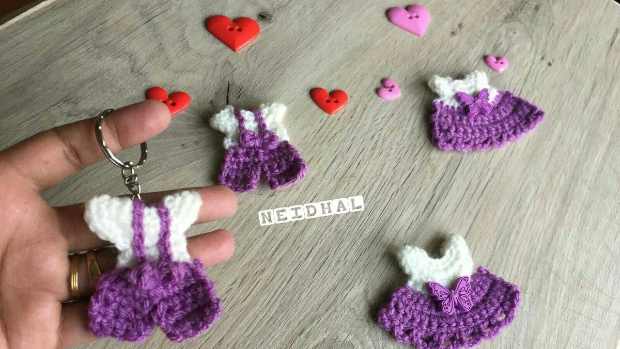 Very Easy Crochet Tiny Baby Dress Diy Keychain Applique Tutorial