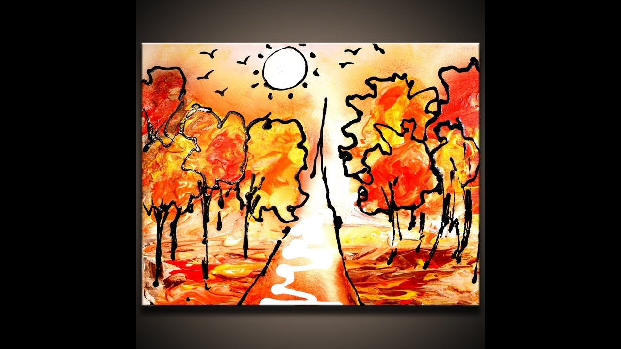 Simple abstract art tree images for Fall paintings easy