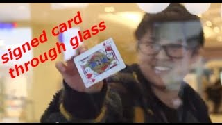 signed card through glass - magic prank