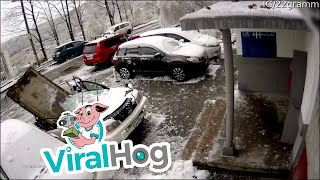 Concrete Block Crushes Car || ViralHog