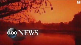 Vivid red skies umhüllen Indonesien inmitten Waldbrände | ABC-News