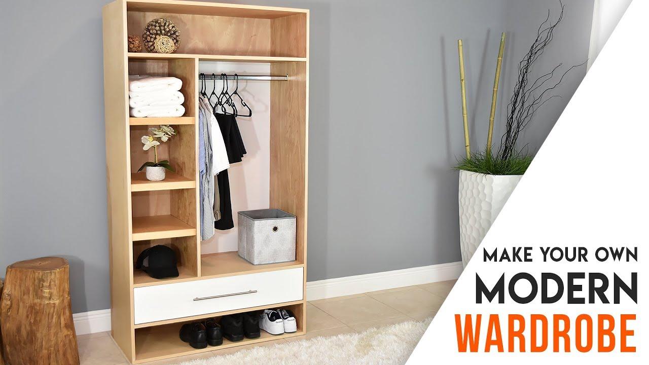 Diy Closet Modern Wardrobe With A Drawer Youtube