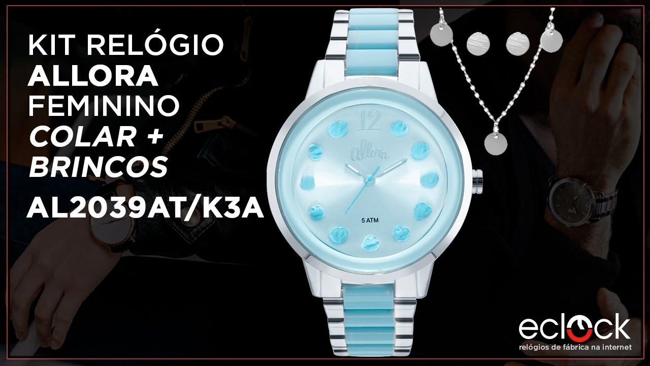 19bcfdfeb96b9 Kit Relógio Allora Feminino com Colar e Brincos AL2039AT K3A - Eclock