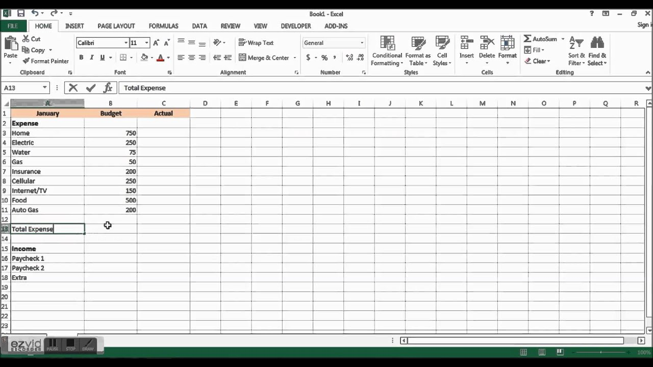 Create An Easy To Use Home Budget With Excel - Part 1
