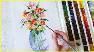 🎨Рисуем букет цветов акварелью! Запись трансляции! 12.03.18