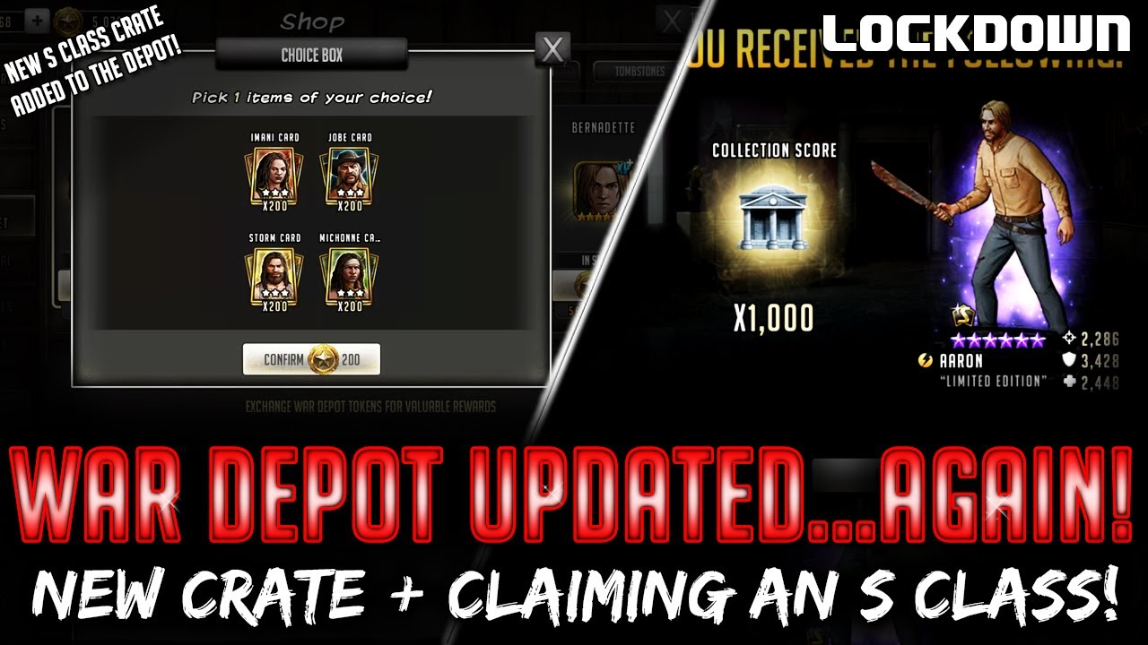 TWD RTS: War Depot Updated... Again! Claiming an S Class - The Walking Dead: Road to Survival