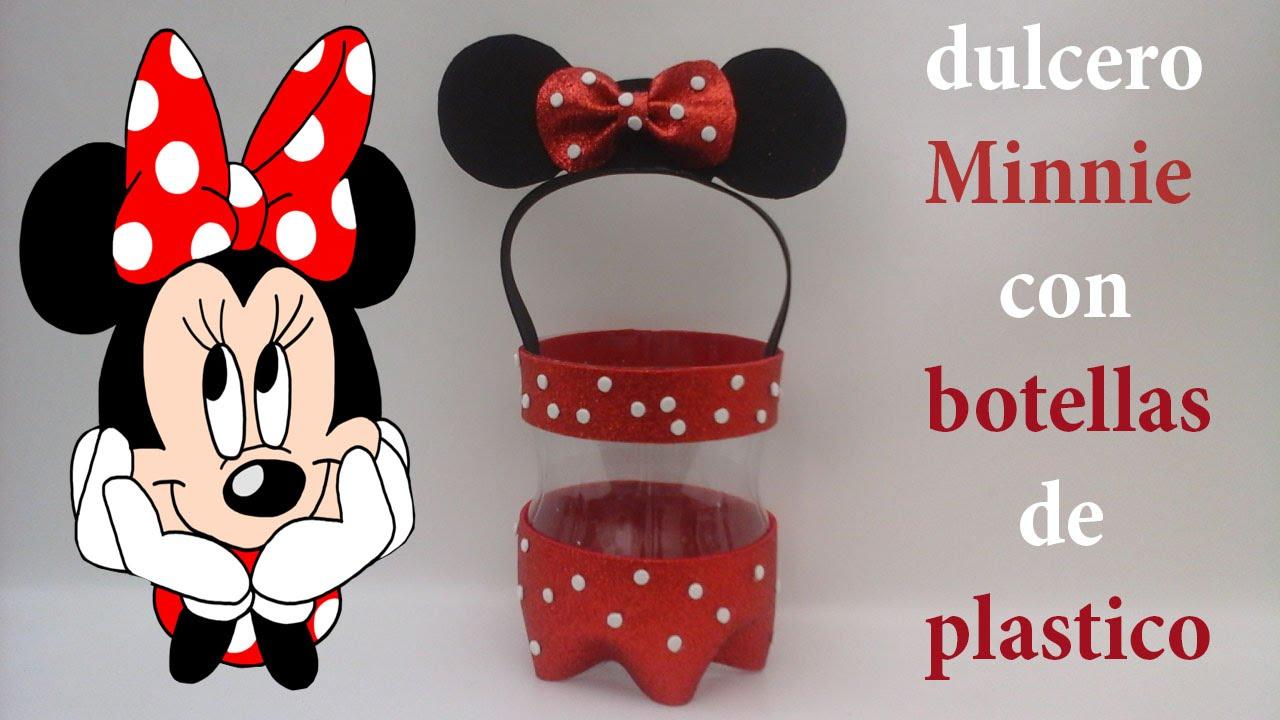 Dulcero de Minnie Mouse con foamy y botellas de plástico - YouTube