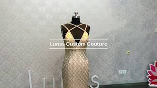 6afc289883f Lunss Custom Made Gold Sequinned Prom Gown