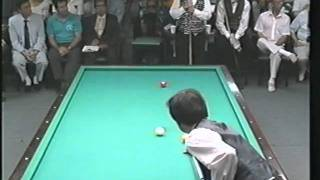 Sang Lee 3 Cushion Billiards Run of 14 w full table masse shot against Sayginer