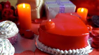 Racking focus shot of a decorated party table for Valentine's day celebration in India