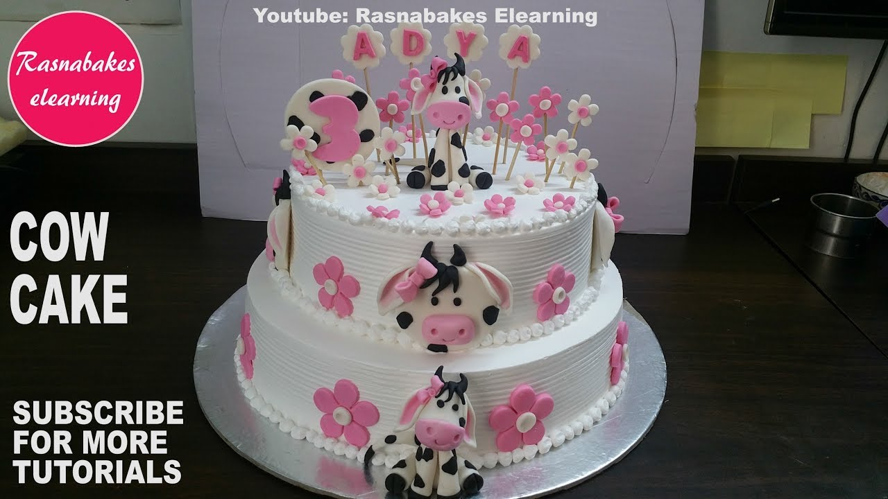 How To Make Farm Animal Cow Cake Design Happy Birthday Cake Pic