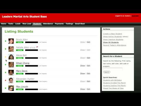 Martial Arts Software - Studentbase - Students List