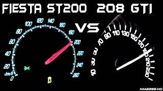 Ford Fiesta ST200 vs. Peugeot 208 GTI 0-200km/h Acceleration Comparison
