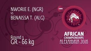 Round 3 GR - 66 kg: T. BENAISSA (ALG) df. E. NWORIE (NGR) by TF, 0-0
