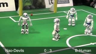 B-Human vs. Nao-Devils, RoboCup German Open 2012, SPL Semifinal, 1st Half