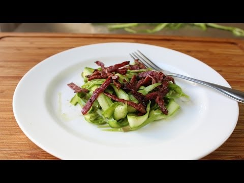 Shaved Asparagus Salad with Fried Pastrami and Mustard Dressing - Raw Asparagus Salad