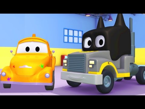Tom's Paint Shop: Carl the Super Truck is Batman | Truck cartoons for kids