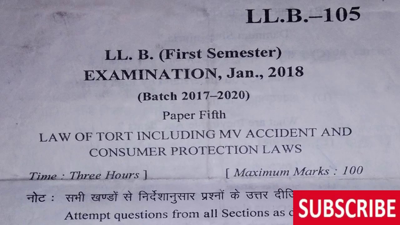 LLB FIRST SEMESTER LAW OF TORT question paper 2018